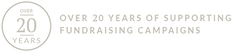 20 Years of Supporting Fundraising Campaigns Logo